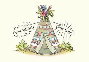 Cute Tribal Tent With Flowers And Leaves