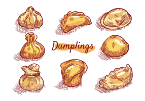 Dumplings Icons Vector