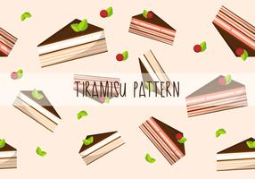 Tiramisu Cake Flat Vector Pattern