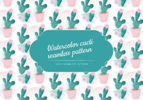 Vector Watercolor Cacti Pattern