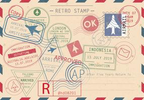 Set Of Retro Stamp Vectors