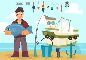 Fisherman With Boat and Equipment Vector