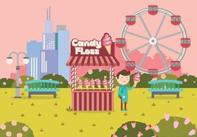 Candy Floss Cart Shop In Playground Vector Illustration
