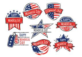Happy Memorial Day of Hand Drawn Style Vector Set