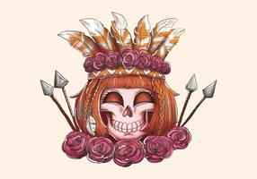 Boho Woman Skull Smiling With Arrow Roses And Feathers