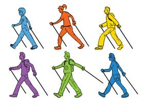 Nordic Walking vector illustration set