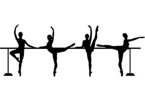 4 Dancers at Barre Vectors