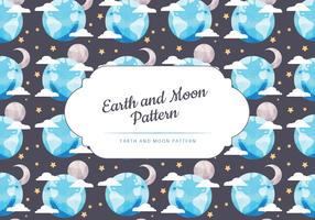 Vector Moon and Earth Seamless Pattern