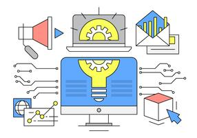 Linear Business and Startup Vector Illustration