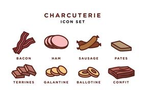 Charcuterie Icon Set Free Vector