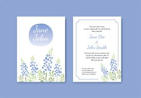 Blue Bonnet Water Color Effect Template Free Vector