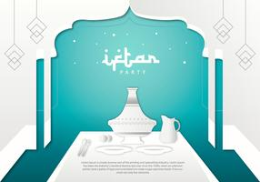Iftar Party Tajine Background Template Vector