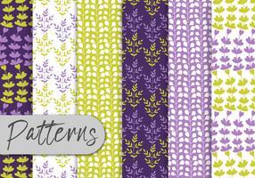 Purple Green Floral Pattern Set