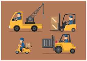 Delivery Man and Movers Illustration Vectors