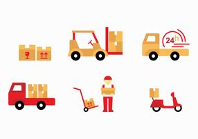 Flat Sticker Movers Vectors