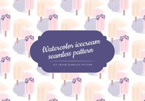 Vector Watercolor Ice Cream Seamless Pattern