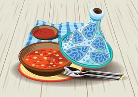 Illustration of Sambal Chicken Tajine Served with Olives, in a Rustic Beautiful Tagine Pot
