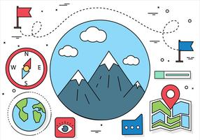 Free Flat Design Vector Travel Elements and Icons
