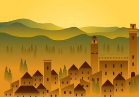Tuscany House Fields Free Vector