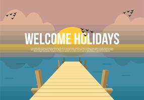 Boardwalk Vector Background Illustration