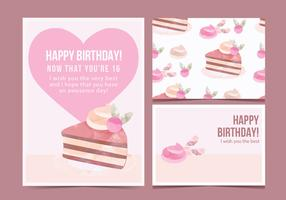 Vector Birthday Cake Card