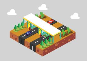 Isometric Toll Booth Vector Art