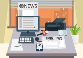 Journalist Desk Vector