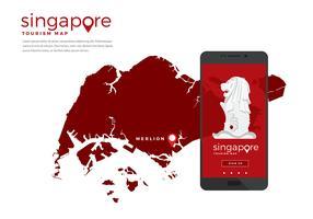 Singapore Tourism Map App Free Vector