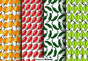 Vector Set Of Seamless Habanero Peppers Patterns