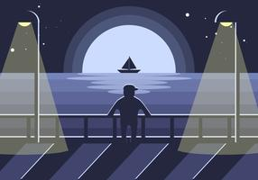 Boardwalk Night Illustration Vector