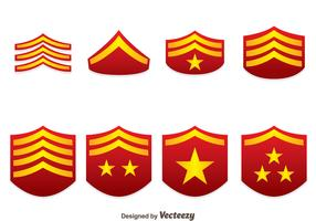 Red Military Rank Emblem Vectors