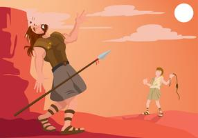 David And Goliath Illustration Free Vector