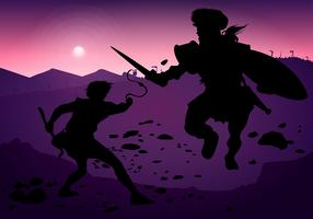 David And Goliath Silhouette Fight Free Vector