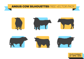 Angus Cow Silhouettes Free Vector Pack