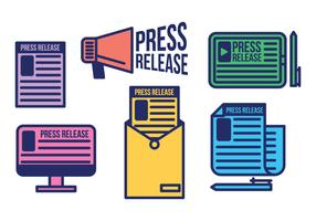 Press release vector icon set