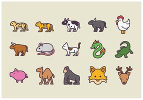 Paquete de vectores del icono del animal