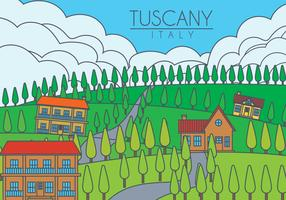 Tuscany landscape vector illustration