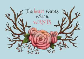 Watercolor Horns With Pink Flowers With Quote Vector