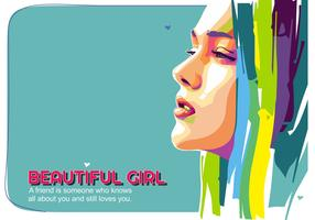 Beautiful Girl Vector Popart Portrait