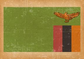 Old Grunge Flag of Zambia