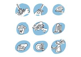 Doodled Icons About Cleaning