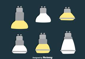 Flat Led Light Lamp Collection Vectors