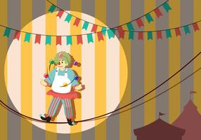 Clown Walking On Tightropel Illustration