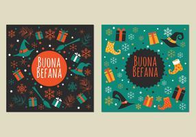 Illustration of Strega with Gift Box for Befana Celebration