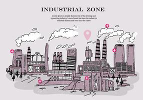 Industrial Zone Smoke Stack Doodle Vector Illustration