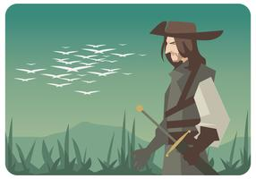 Musketeer With Landscape Background Vector