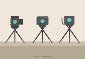 Cameras On Tripods Flat Vector Icons