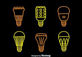 Led Lights Lamp Line Icons Collection Vector
