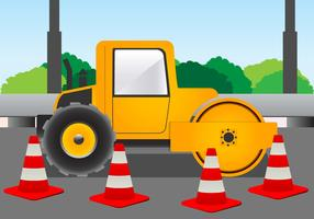 Road Roller for Construction on the Road Vector