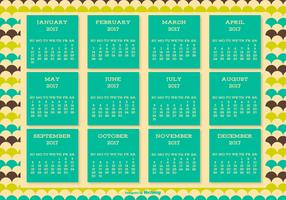 Cute Retro Style 2017 Calendar Background